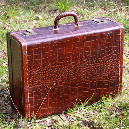 Brown Leather Alligator Style Suitcase - Forever Vintage Rentals