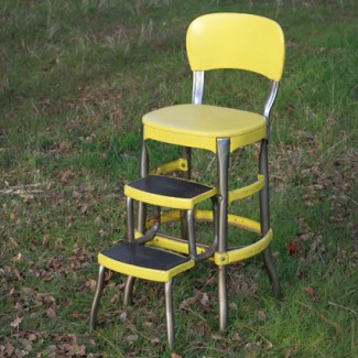 Yellow Chair With Step Stool
