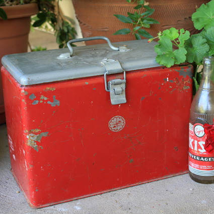 Vintage Red Ice Chest