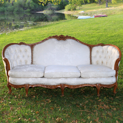 Milan Ivory Vintage Couch