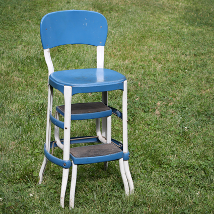 Vintage Blue Metal Step Stool : vintage metal step stool chair - islam-shia.org