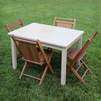Kids Creamy Table With Vintage Wood Folding Chairs