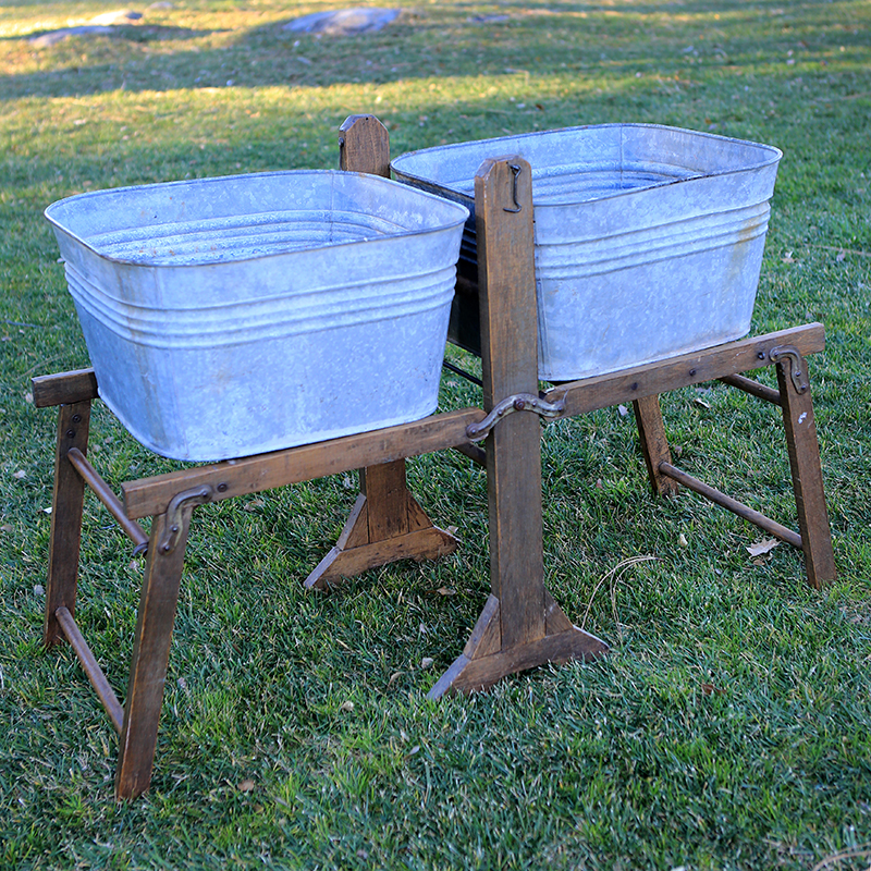 Wash Tub With Stand : Wood Wash Stands with Galvanized Tubs - Forever Vintage Rentals