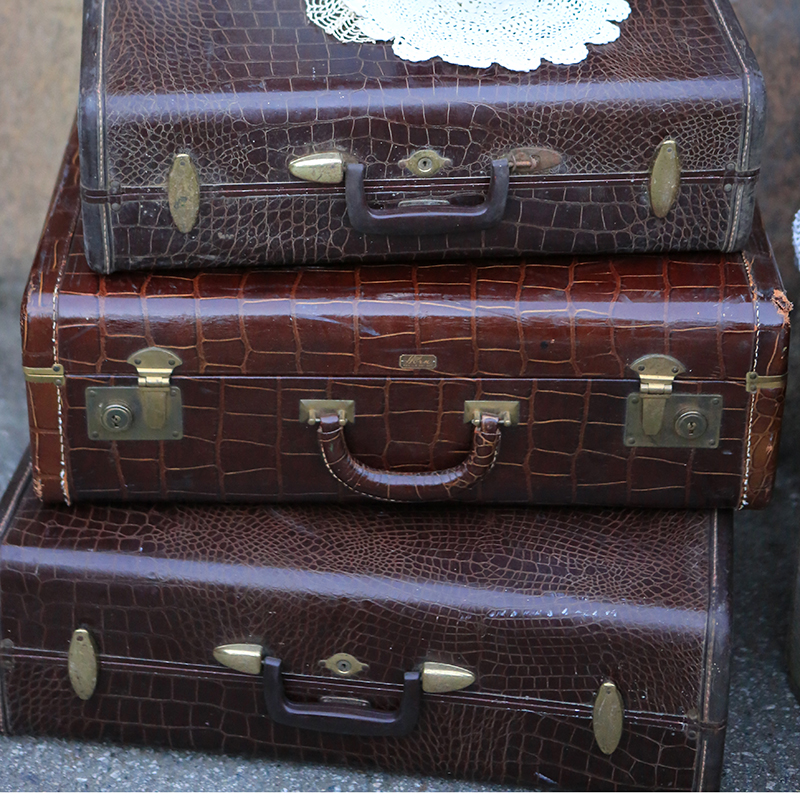Vintage brown leather luggage forever vintage rentals for What to do with vintage suitcases