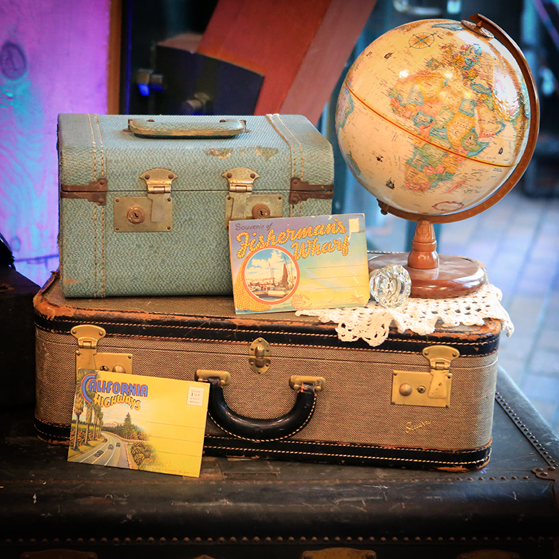 Vintage Luggage, Postcards and Travel Globe - Forever