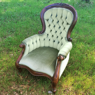 Gideon Green Velvet Tufted Chair