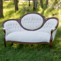 Cologne-Vintage Walnut Oval Backed Ivory Velvet Settee