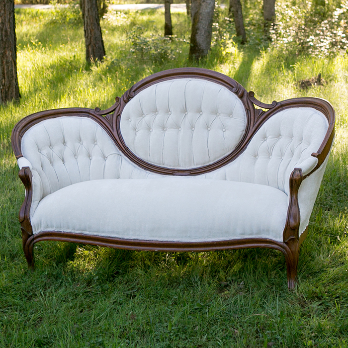 Cologne Vintage Walnut Oval Backed Ivory Velvet Settee