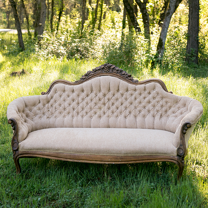 florence golden tan tufted wood trimmed couch forever vintage rentals. Black Bedroom Furniture Sets. Home Design Ideas