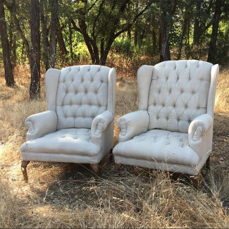 Tristan Cream Linen High Back Tufted Chairs