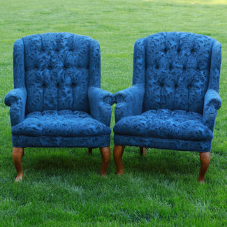 Bradley Deep Blue High Back Tufted Chairs