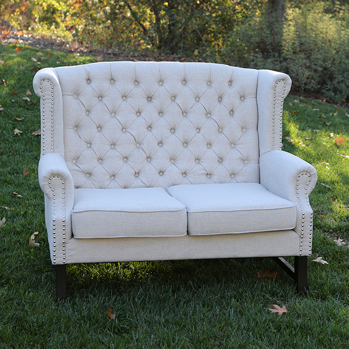vintage settee for sale high backed tufted linen sweetheart settees 6862